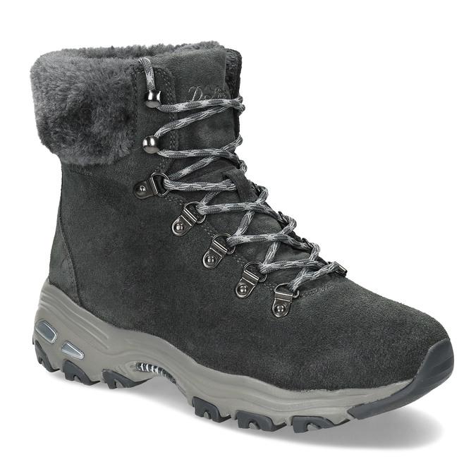 Dámská šedá zimní obuv z broušené kůže skechers, šedá, 593-2110 - 13