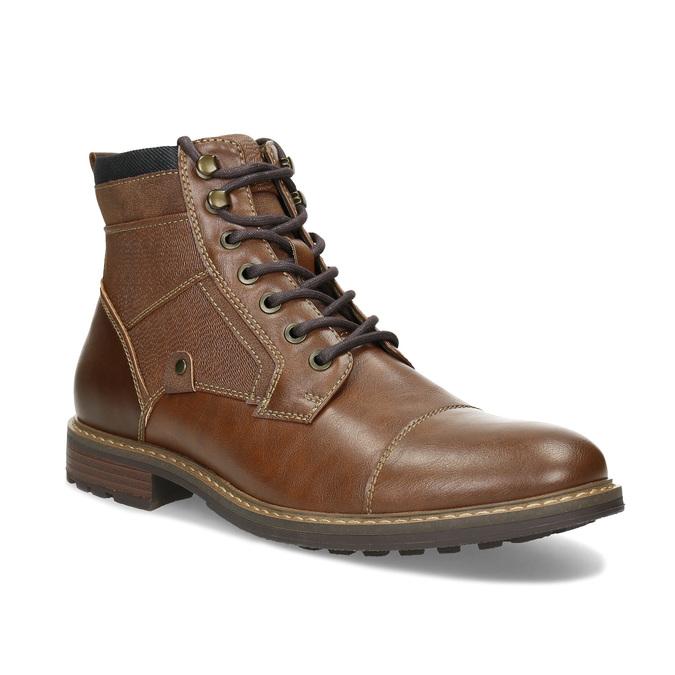 Pánská hnědá kotníčková obuv s prošitím bata-red-label, hnědá, 891-3608 - 13