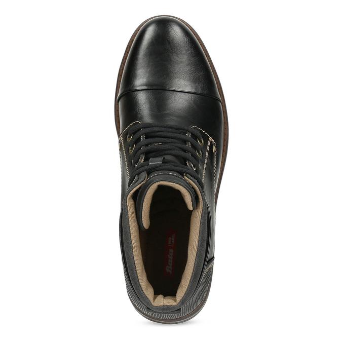 Pánská černá kotníčková obuv s prošitím bata-red-label, černá, 891-6610 - 17
