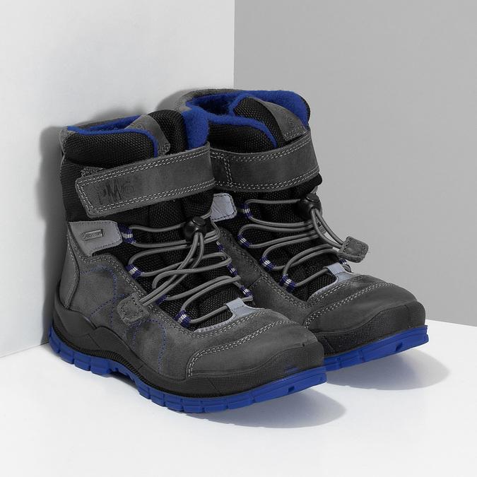 Šedá dětská zimní obuv s modrými detaily primigi, šedá, 293-2606 - 26
