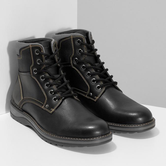 Pánská černá kotníčková obuv s prošitím bata-red-label, černá, 891-6606 - 26
