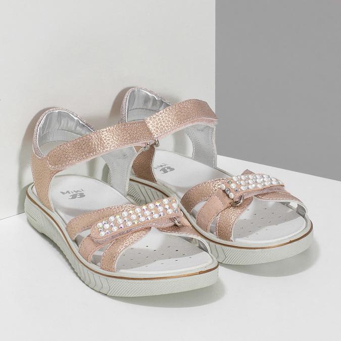 Růžové dětské sandály s kamínky mini-b, růžová, 461-5642 - 26