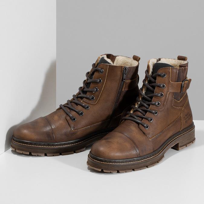Kožená pánská kotníčková obuv se zateplením bata, hnědá, 896-4600 - 16