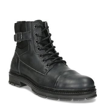 Kožená pánská kotníčková obuv s přezkou bata, černá, 896-6600 - 13