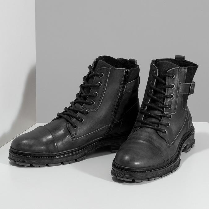 Kožená pánská kotníčková obuv s přezkou bata, černá, 896-6600 - 16