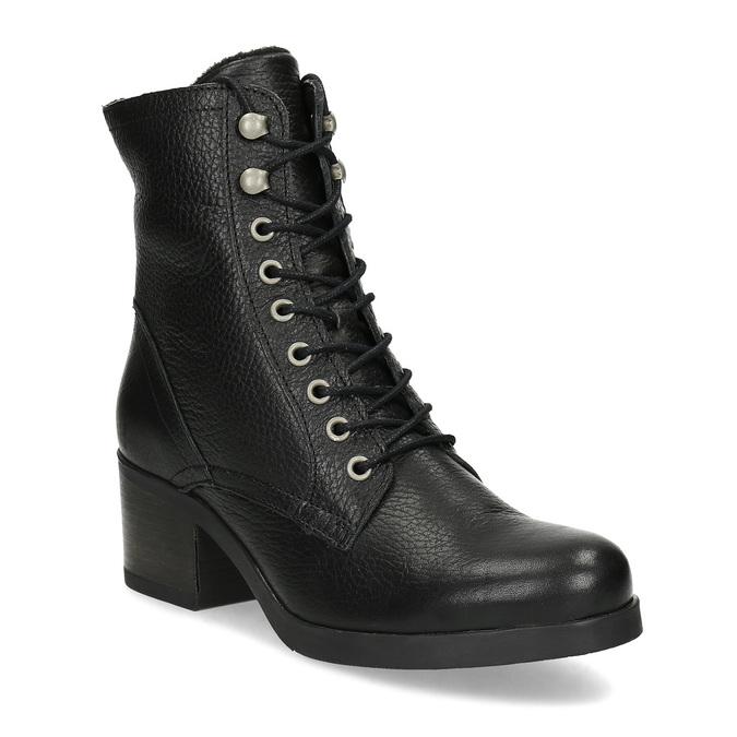 Černé dámské kožené kozačky bata, černá, 694-6607 - 13
