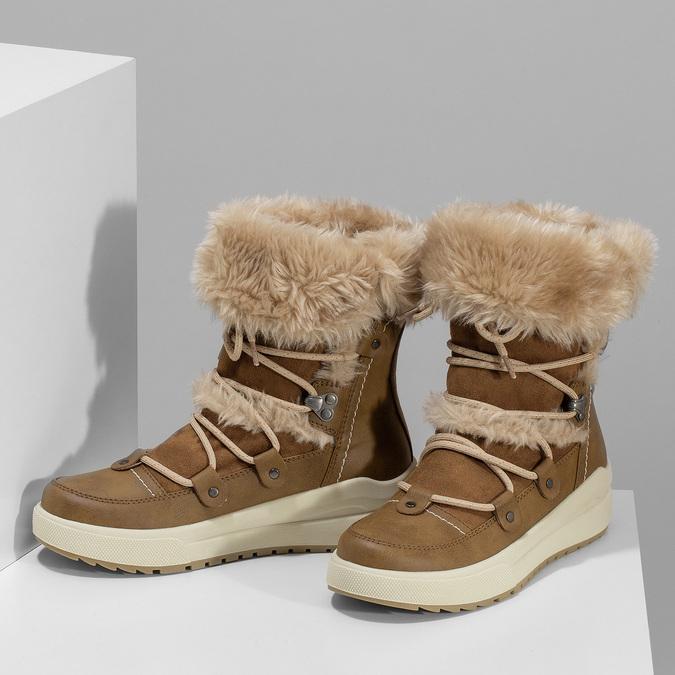 Hnědé dámské zimní sněhule s kožíškem weinbrenner, hnědá, 599-3633 - 16