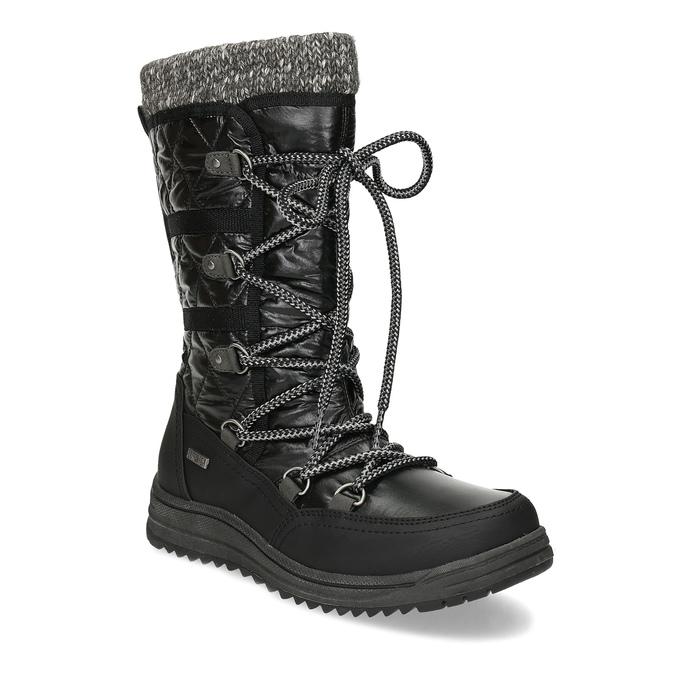 Černé dámské sněhule s úpletem bata, černá, 599-6634 - 13