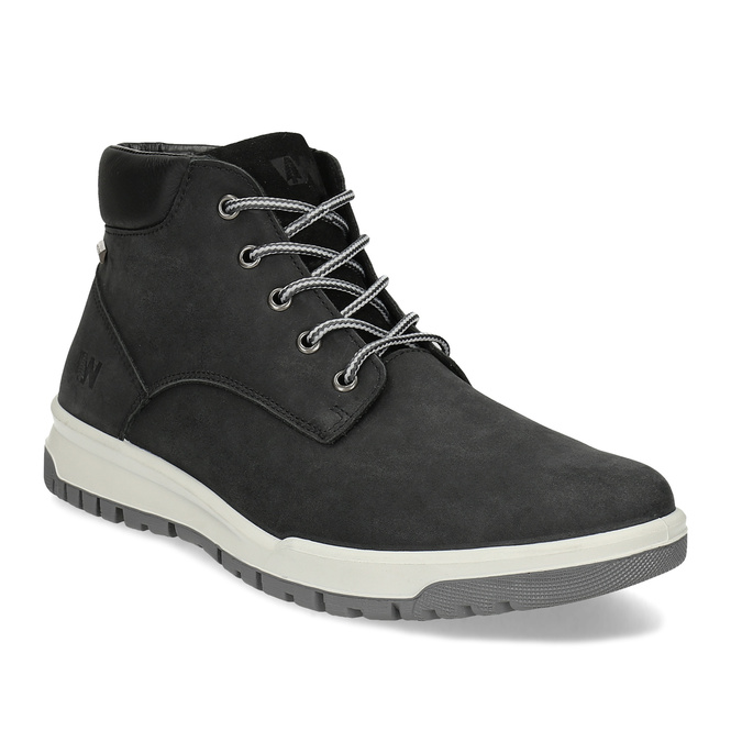 Černá pánská kotníčková obuv z broušené kůže weinbrenner, černá, 896-6396 - 13
