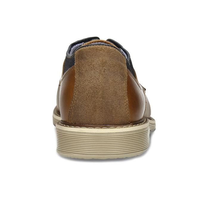 Hnědé pánské kožené Derby polobotky bata, hnědá, 826-3607 - 15