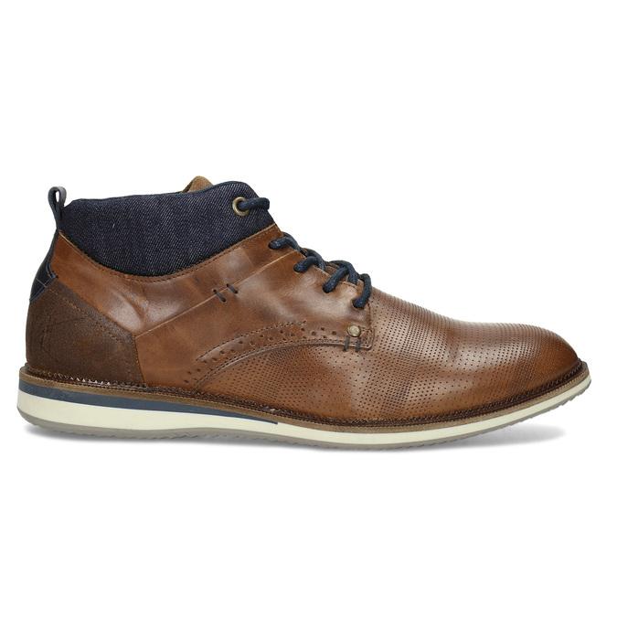 Hnědá kožená pánská kotníčková obuv bata, hnědá, 826-3603 - 19