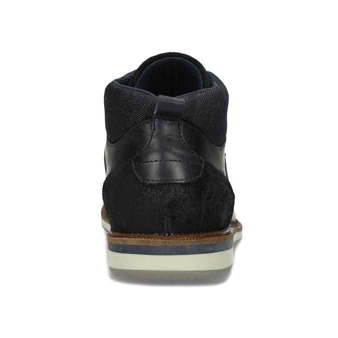 Kožená pánská černá kotníčková obuv bata, černá, 826-6603 - 15