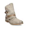 Hnědé dámské kožené kozačky s přezkami bata, šedá, 596-2602 - 13