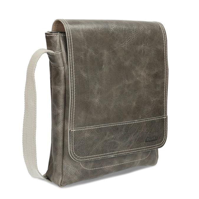Pánská kožená šedá taška přes rameno bata, šedá, 964-2283 - 13