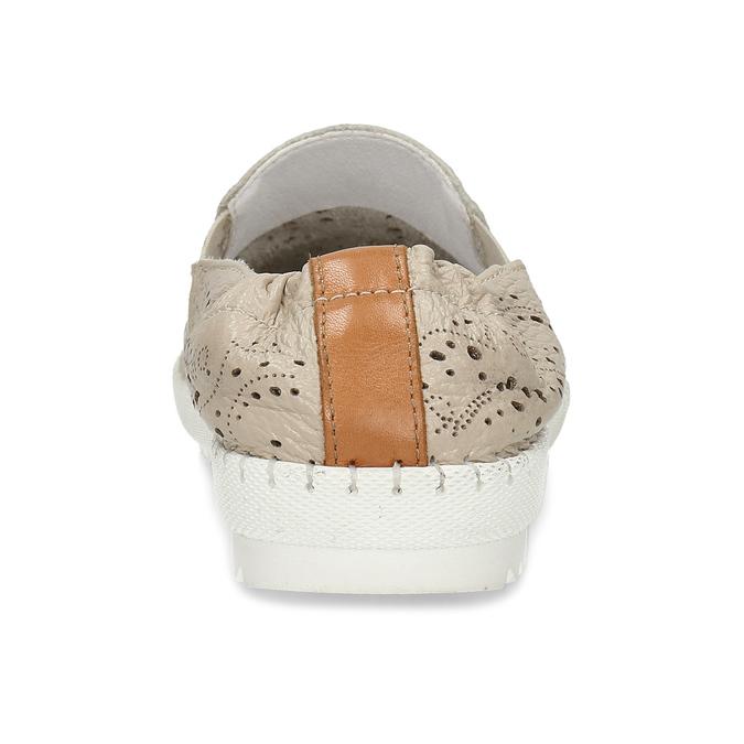 Dámská kožená béžová slip-on obuv s perforací bata, béžová, 524-8604 - 15
