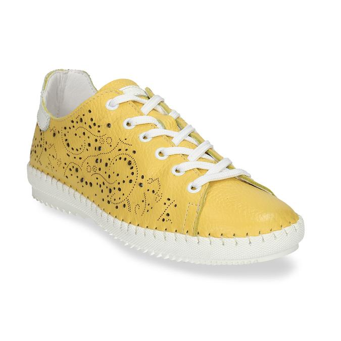 Dámská kožená žlutá obuv s perforací bata, žlutá, 524-1613 - 13