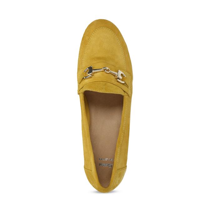 Žluté dámské mokasíny z broušené kůže bata, žlutá, 513-8601 - 17