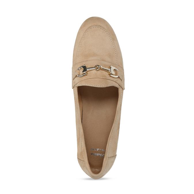 Béžové dámské mokasíny z broušené kůže bata, béžová, 513-3601 - 17