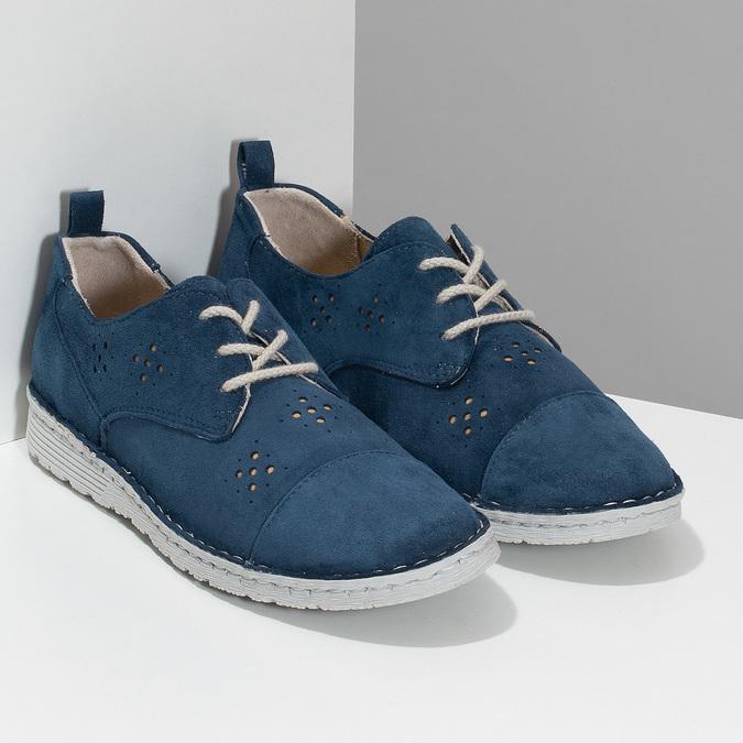 Dámské modré polobotky z broušené kůže bata, modrá, 523-9606 - 26