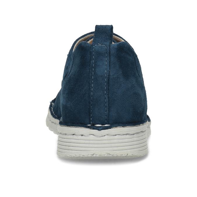 Dámské modré polobotky z broušené kůže bata, modrá, 523-9606 - 15