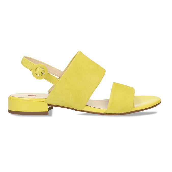 Dámské kožené žluté páskové sandály hogl, žlutá, 563-8102 - 19