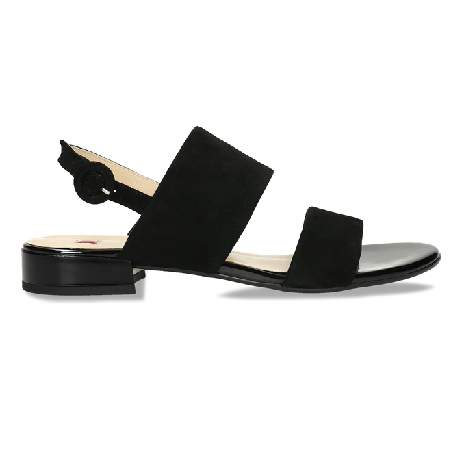 Dámské kožené černé páskové sandály hogl, černá, 563-6102 - 19