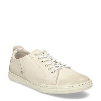 Dámské béžové kožené ležérní polobotky bata, béžová, 524-8603 - 13