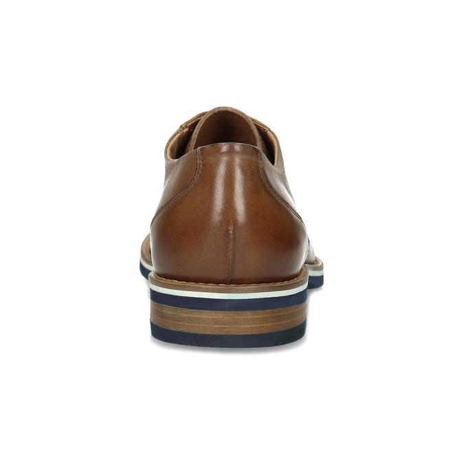 Pánské hnědé kožené Derby polobotky bata, hnědá, 826-3616 - 15