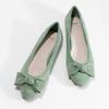 Zelené dámské baleríny s mašlí bata, zelená, 529-7602 - 16
