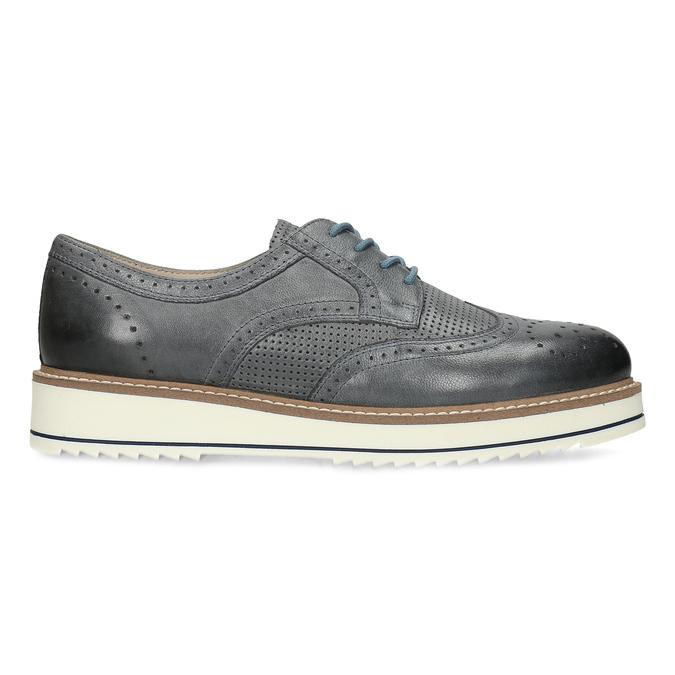 Dámské šedé kožené ležérní polobotky bata, šedá, 524-2601 - 19