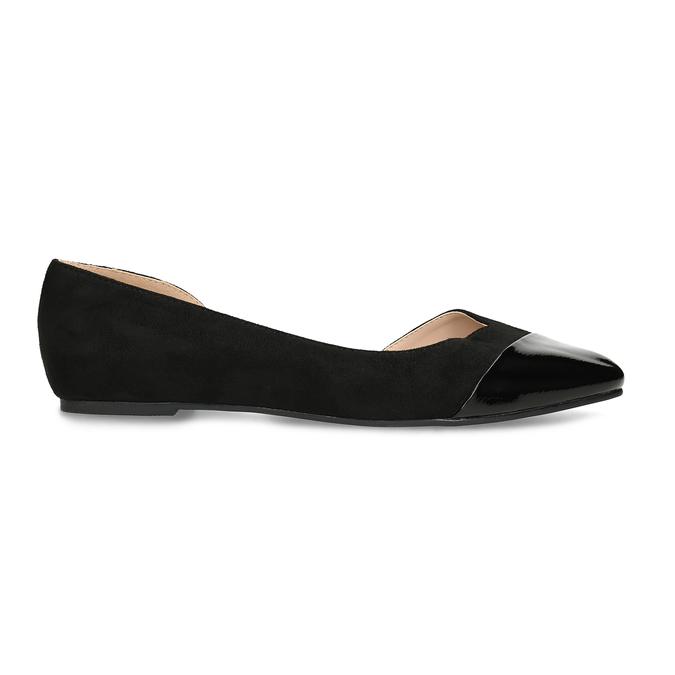 Černé dámské baleríny s vykrojením bata, černá, 529-6601 - 19