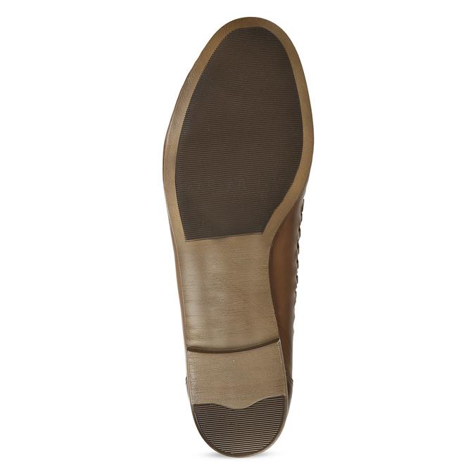 Dámské hnědé kožené mokasíny s propletením bata, hnědá, 524-4607 - 18