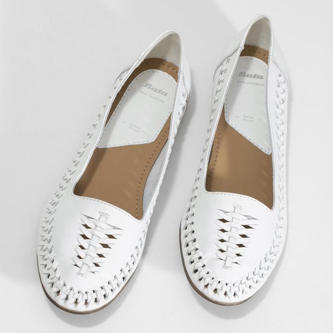 Bílé kožené dámské mokasíny s propletením bata, bílá, 524-1607 - 16