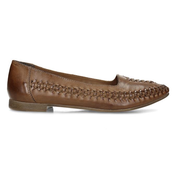 Dámské hnědé kožené mokasíny s propletením bata, hnědá, 524-4607 - 19