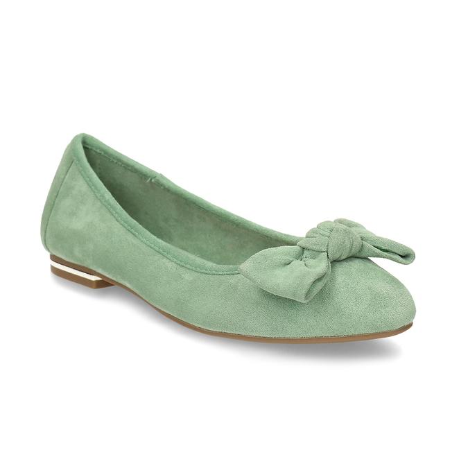Zelené dámské baleríny s mašlí bata, zelená, 529-7602 - 13