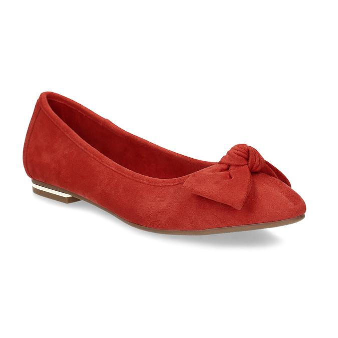 Dámské červené baleríny s mašlí bata, červená, 529-5602 - 13