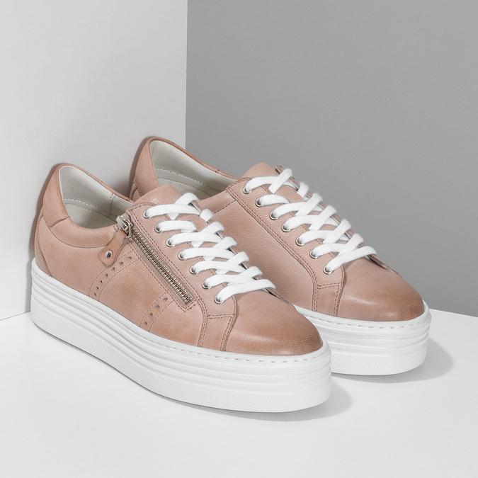 Kožené růžové tenisky na flatformě bata, růžová, 544-5602 - 26