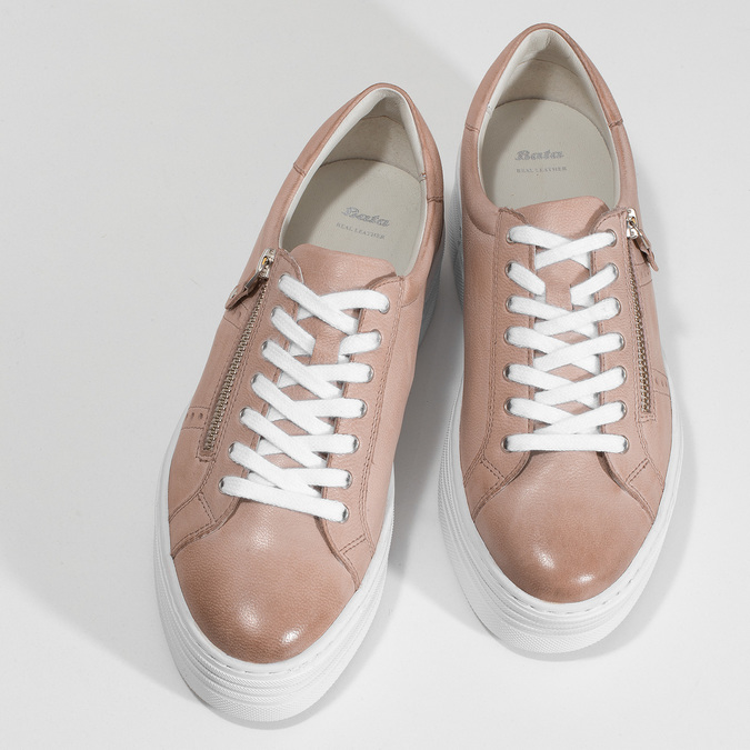 Kožené růžové tenisky na flatformě bata, růžová, 544-5602 - 16