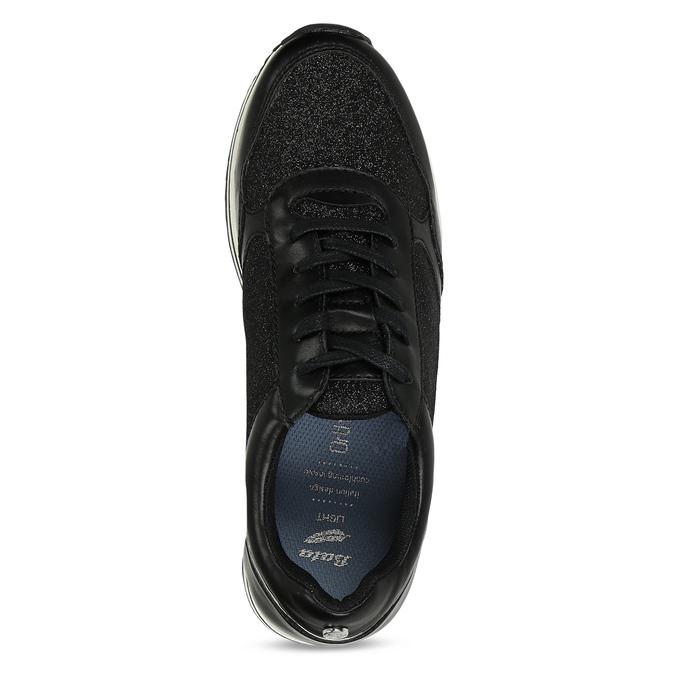 Černé tenisky na flatformě se třpytkami bata-light, černá, 541-6614 - 17