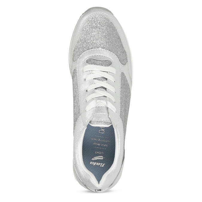 Stříbrné dámské tenisky na flatformě bata-light, stříbrná, 541-1614 - 17