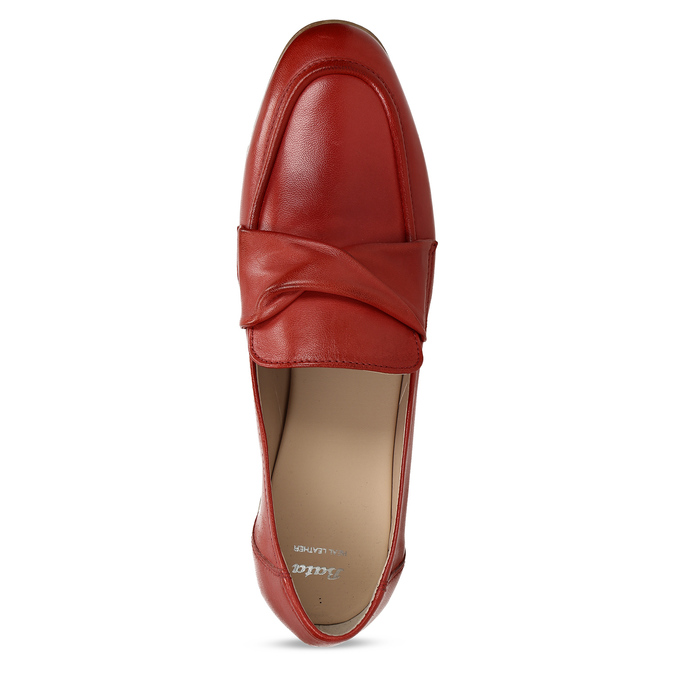 Dámské kožené červené mokasíny bata, červená, 516-5606 - 17