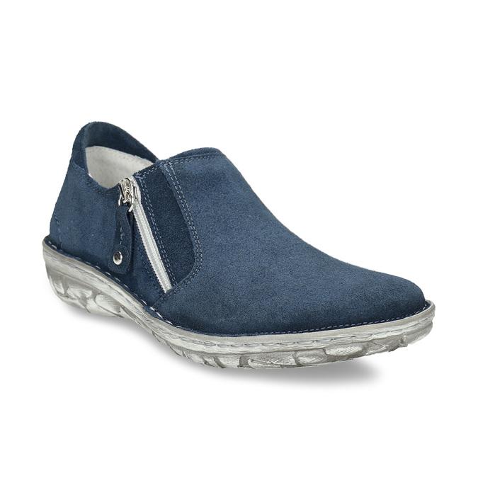 Dámské kožené slip-on tenisky se zipem bata, modrá, 523-9625 - 13