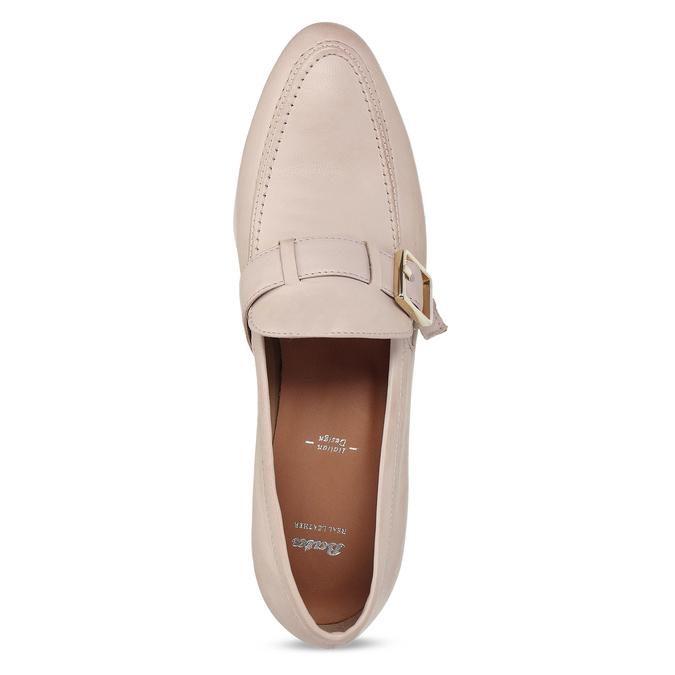 Dámské kožené béžové mokasíny se sponou bata, růžová, 514-5605 - 17