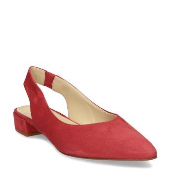 Kožené červené lodičky na nízkém podpatku s páskem bata, červená, 523-5607 - 13