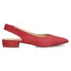 Kožené červené lodičky na nízkém podpatku s páskem bata, červená, 523-5607 - 19