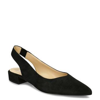 Kožené černé lodičky na nízkém podpatku s páskem bata, černá, 523-6607 - 13