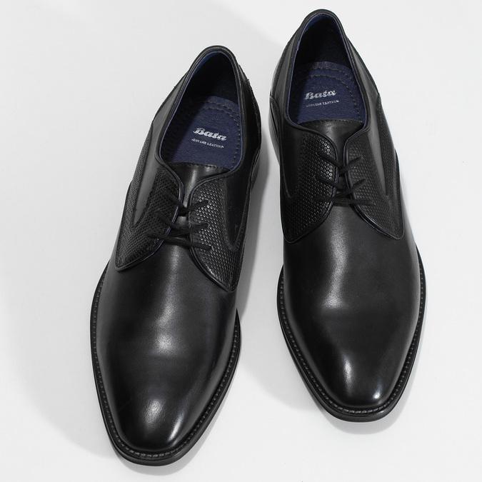 Černé pánské kožené Derby polobotky bata, černá, 824-6620 - 16