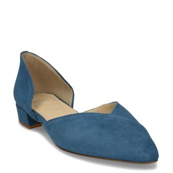 Kožené modré lodičky na nízkém podpatku bata, modrá, 523-9605 - 13