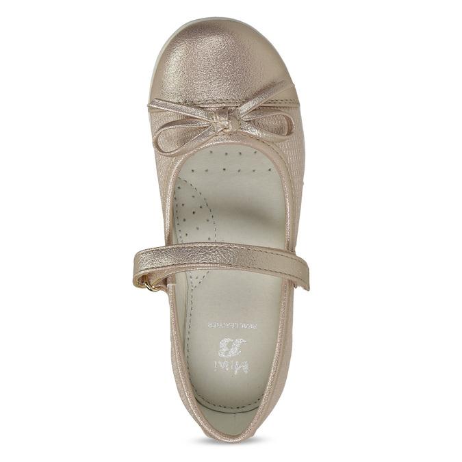 Zlaté dívčí baleríny s mašlí a páskem mini-b, zlatá, 221-8165 - 17