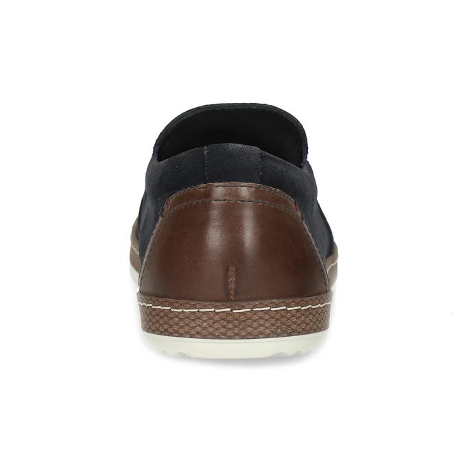 Modrá pánská kožená Slip-on obuv bata, modrá, 833-9608 - 15